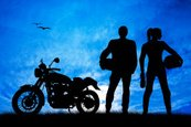 Motorcycle,Couple,Women,Sil...