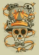 Skull,Playing,Hat,Circus,Hu...