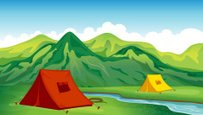 Mountain,Tent,Green Color,C...