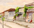 City,Watercolor Painting,Si...