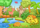 Cartoon,Swamp,Tiger,Bear,An...