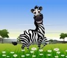 Zebra,Tropical Tree,Cartoon...