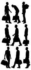 Silhouette,People,White Bac...