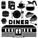 Diner,Food,1950s Style,Silh...