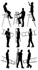 Ladder,Silhouette,Men,Manua...