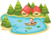 Pond,Rowboat,People,Nature,...