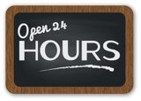 24 Hrs,Opening Hours Sign,B...