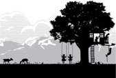 Tree House,Swinging,Silhouett…