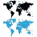 World Map,Outline,Black Col...