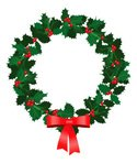 Wreath,Christmas,Holly,Bow,...