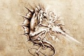 Ornate,Curled Up,Dragon,Com...