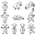 Sheep,Cartoon,Number,Sleepi...