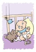 Baby,Crib,Crying,Cartoon,Bee,…