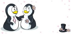Ilustration,Wedding,Penguin...