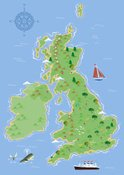 Map,UK,Cartoon,Nautical Ves...