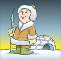 Inuit,Igloo,Men,Winter,Harp...