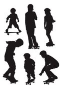Child,Silhouette,Skateboard...