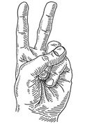 Hand Sign,Black And White,D...