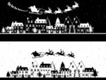 Silhouette,Town,Christmas,S...