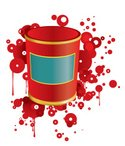 Bucket,Paint,Jar,Can,Red,Ch...