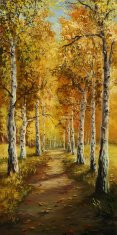 Forest,Birch,Autumn,Paintin...