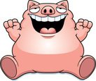 Pig,Overweight,Large,Smilin...