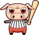 Pig,Cartoon,Baseball - Spor...