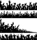 Crowd,Cheering,Silhouette,P...