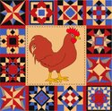 Quilt,Rooster,Pattern,Rusti...