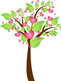 Tree,Heart Shape,Pink Color...