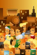 Crowd,City,Cartoon,Store,Cr...