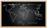 World Map,Blackboard,Map,Gl...