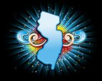 New Jersey,Map,Bright,Vecto...