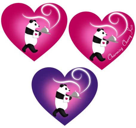 Valentine's dag Labels voor Love hart in Panda's Vector