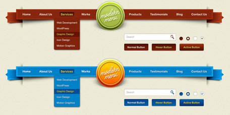 Modern meny för web elements PSD design