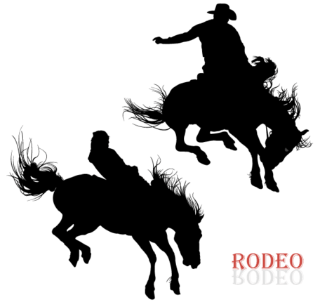 Cowboy Riding Horse in Rodeo Vector Art, Vectors - Clipart.me