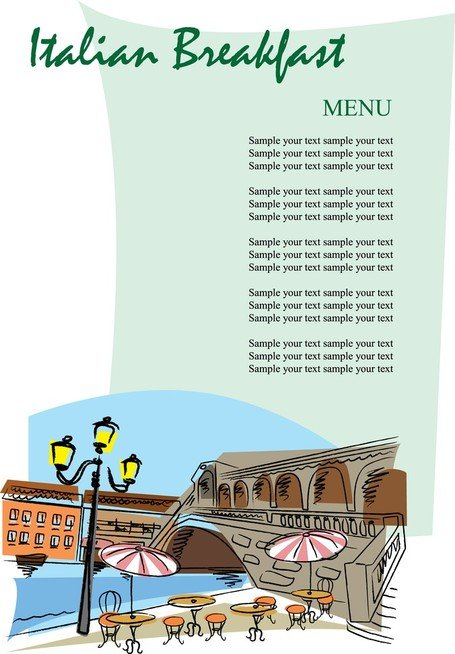 Romantische Handpainted Menu 02