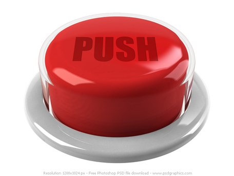 3D red push button