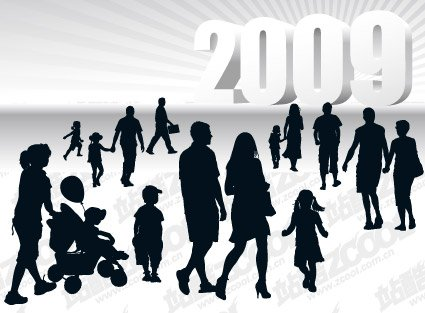2009 Vector People silhouette and three-dimensional material