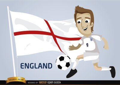 England football player with flag