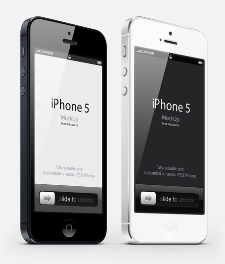 3-4 view iPhone 5 Psd vektör Mockup