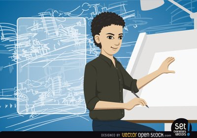 Young Architect making a drawing with message, Vector File ...