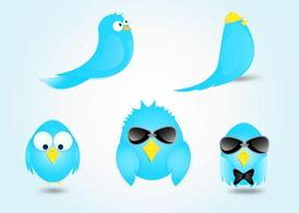 Twitter Bird Cartoon vettori