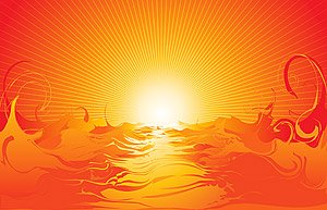 Cool vector material sea sunset