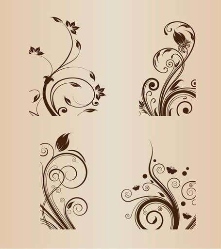 Swirl bloemdessin Vector Illustratie Set