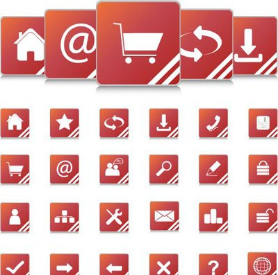 Red Internet icons and website buttons