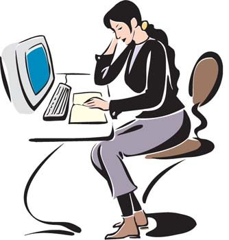 Girl working with her desktop PC