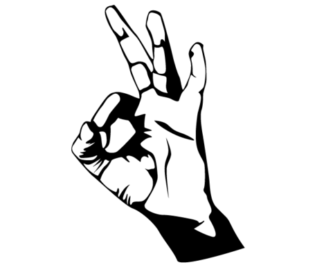 Hand Ok Sign Vector Art