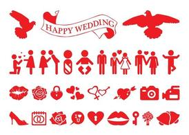 Amore e matrimonio Icon Set