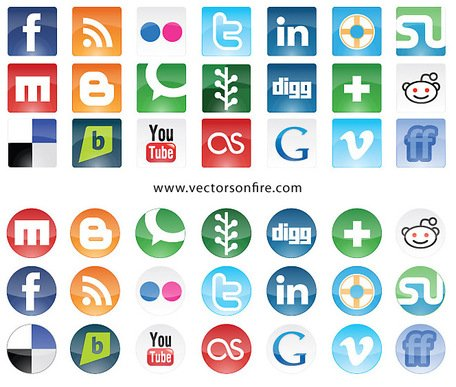 Siti di social Icon Set (21 icone)